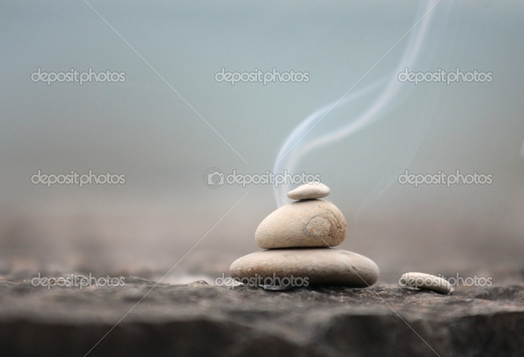 Zen stones with smoke