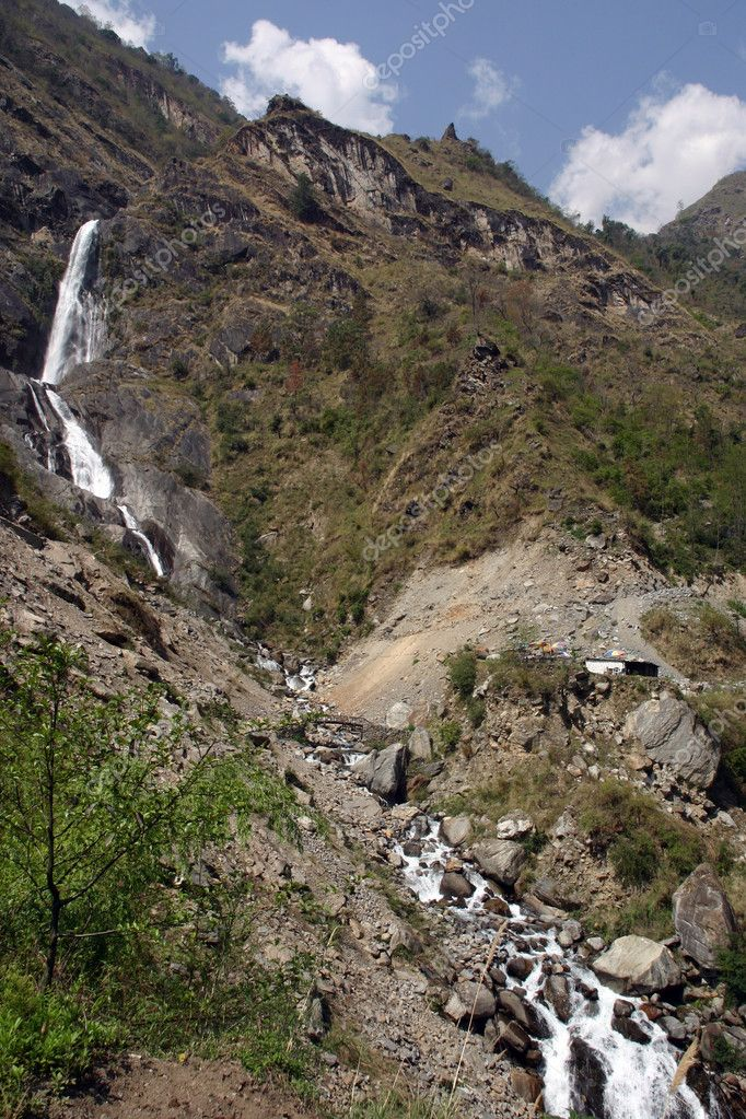 Annapurna Trek in Himalaya Waterfall