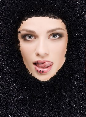 Black caviar and woman