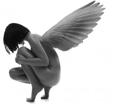 Naked beauty woman with wings