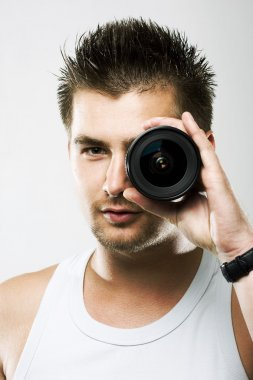 Man and lens