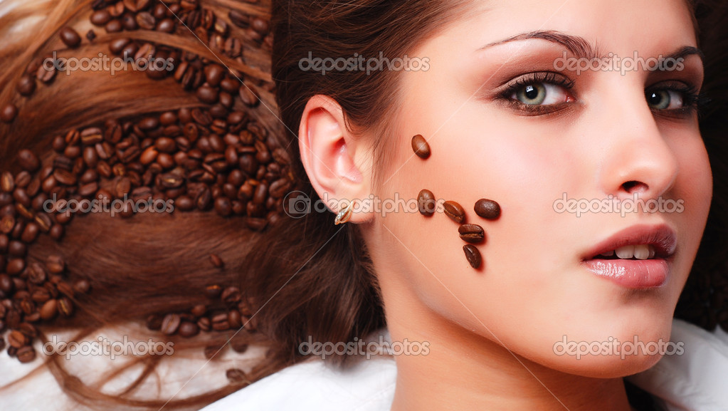 Womans Face With Coffee Beans Stock Photo Dmitroza 2398964