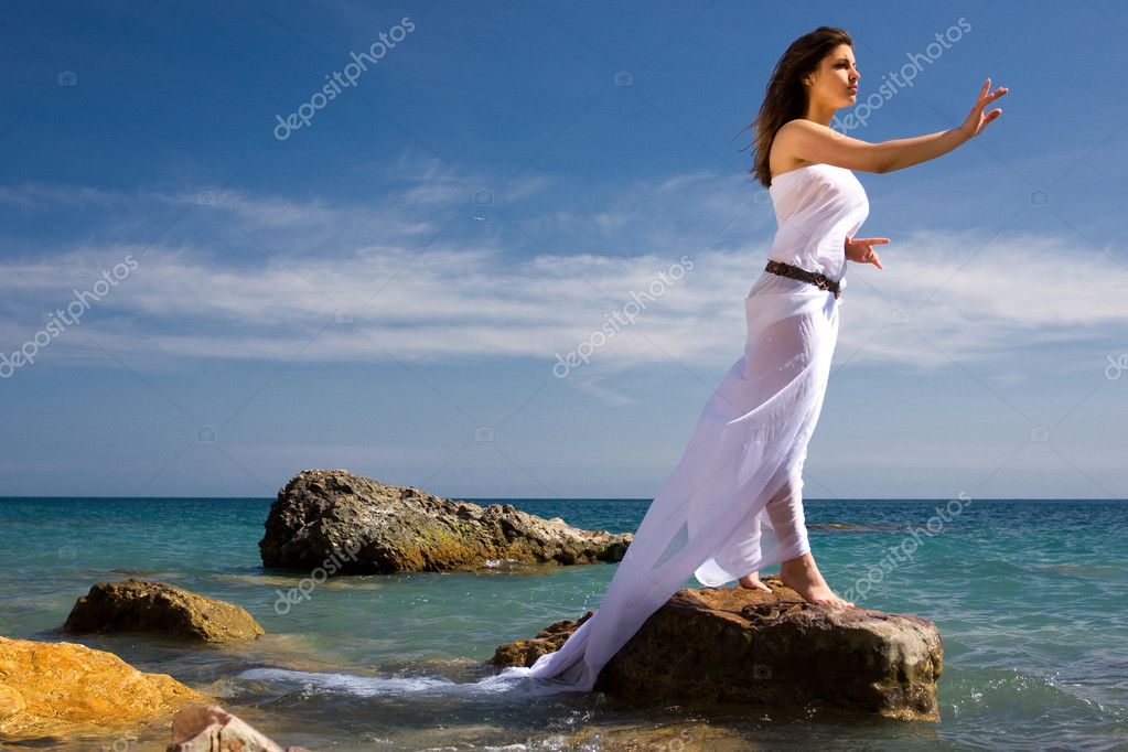 Woman and sea beach