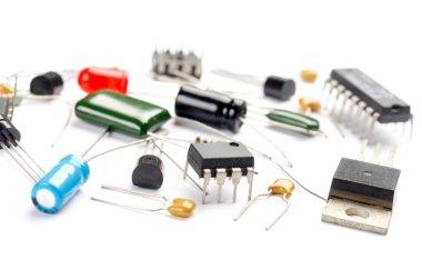 Radio components on white background