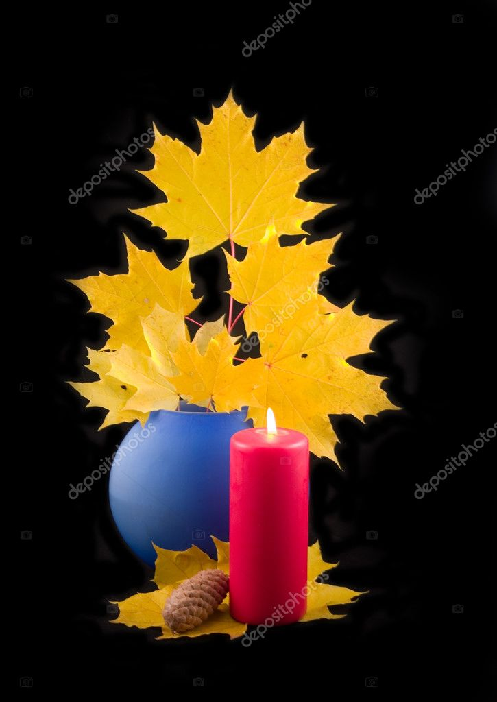 Red candle on black background — Stock Photo © Nikblo #1772165