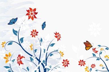 Grunge vector flower background