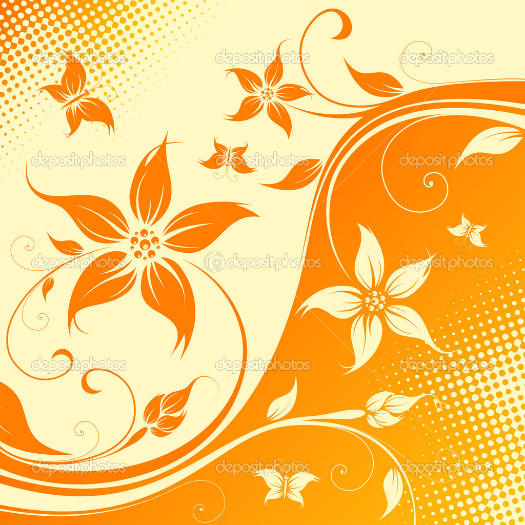 vector flower background with butterfly u2014 stock vector u003dwad