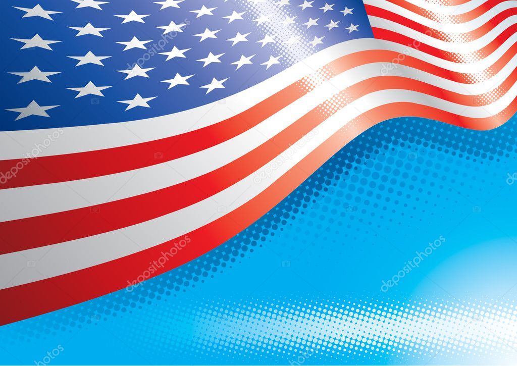 US Flag And Halftone Effects