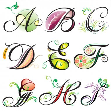 Alphabets elements design - 1of3 clip art vector