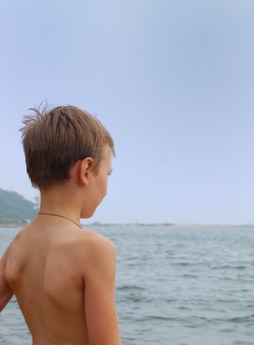 Boy on sea