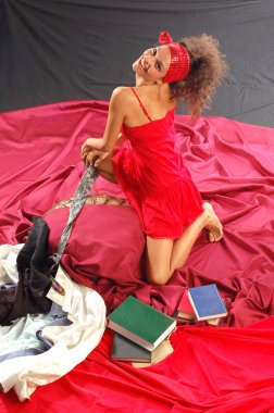 Leisure woman with books
