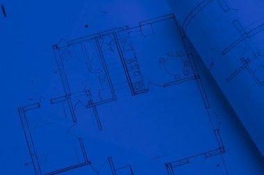 Blue architecture planning of interiors designe on paper stock vector