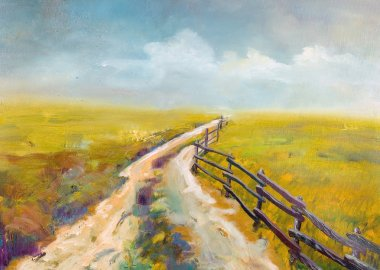 Village road, this is oil painting and I am author of this image stock vector