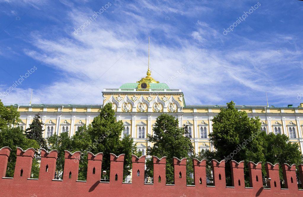 Kremlin Palace behind Kremlin wall