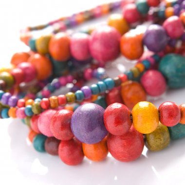 Close up on colorful beads