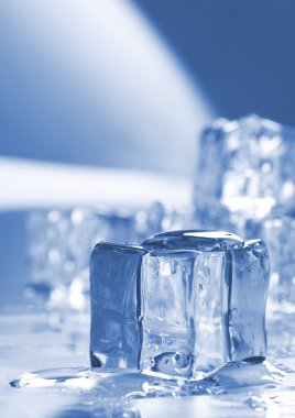 Ice cubes in blue ambient light