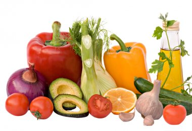 Different vegetables, herbs, and oil