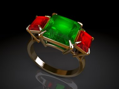 Gold ring with large emerald