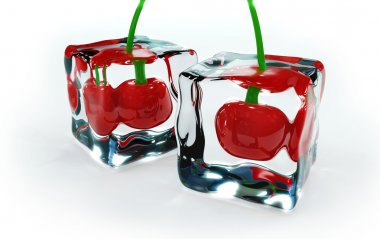 Cherries in ice cubes