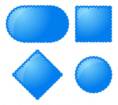 Blue glossy buttons on white background stock vector