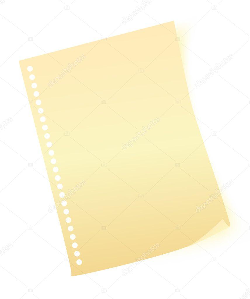 hoja de papel amarillo — Archivo Imágenes Vectoriales © yellowpixel ...