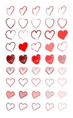Vector illustration of beautiful red hearts clip art vector