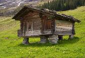 baita di montagna in legno con un tetto di pietra