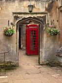 Photo British telephone red box in Oxford, UK.