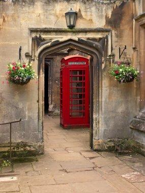 British telephone red box in Oxford, UK.