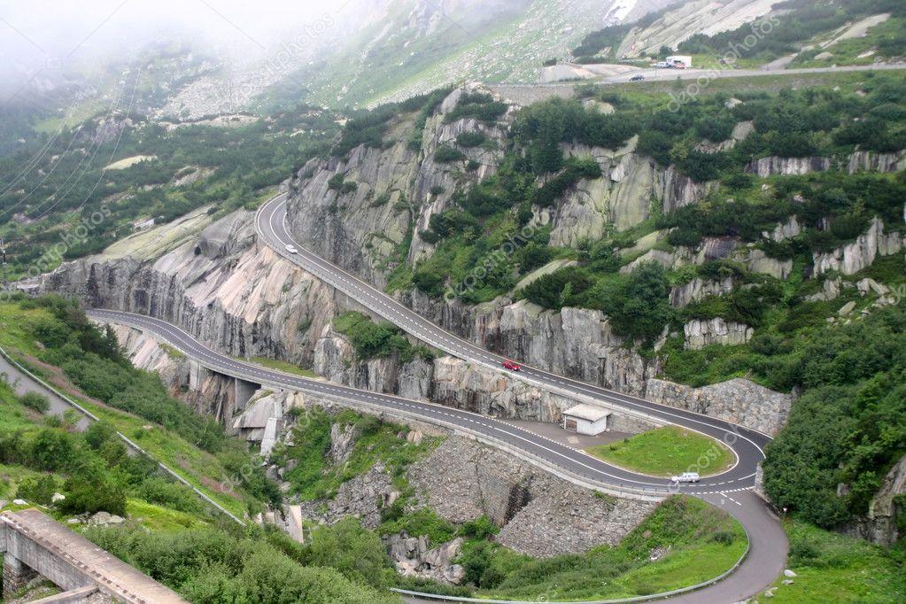 Serpentine road in Alps