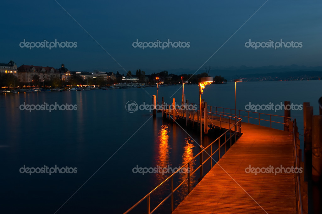 The Lake of Zurich at night
