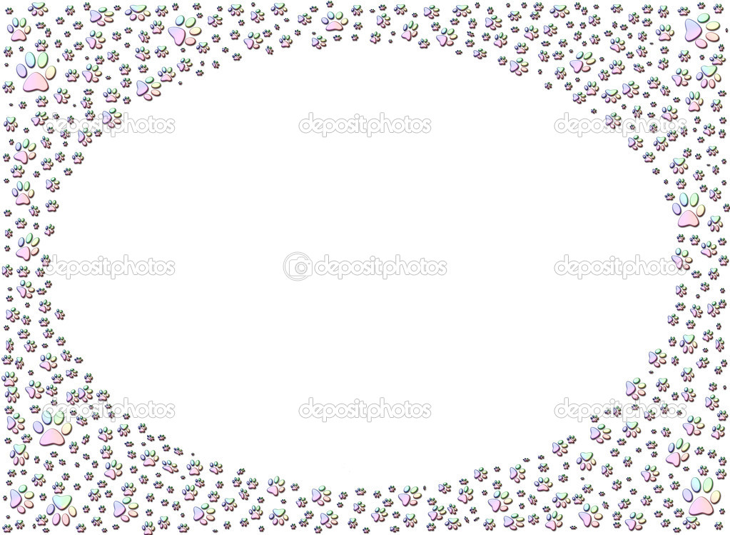 perro o gato pata impresión huellas marco — Fotos de Stock © Artida ...