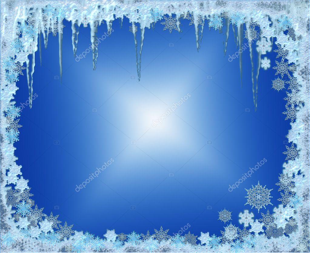 marco de Navidad helada con copos de nieve — Foto de stock © Artida ...