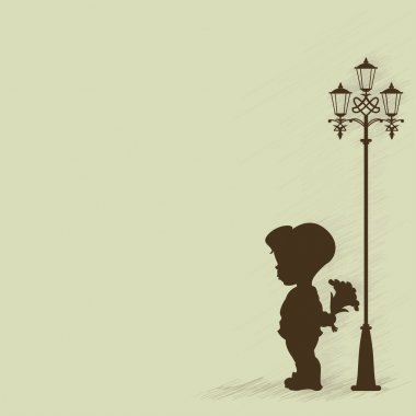 Boy with a bouquet of standing under a street lamp. Silhouette. EPS 8, AI, JPEG stock vector
