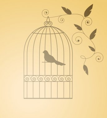 Silhouette birds in a cage