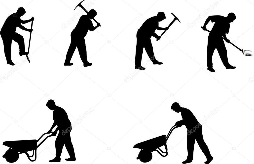 Working man silhouettes — Stock Vector © Slobelix #1804768