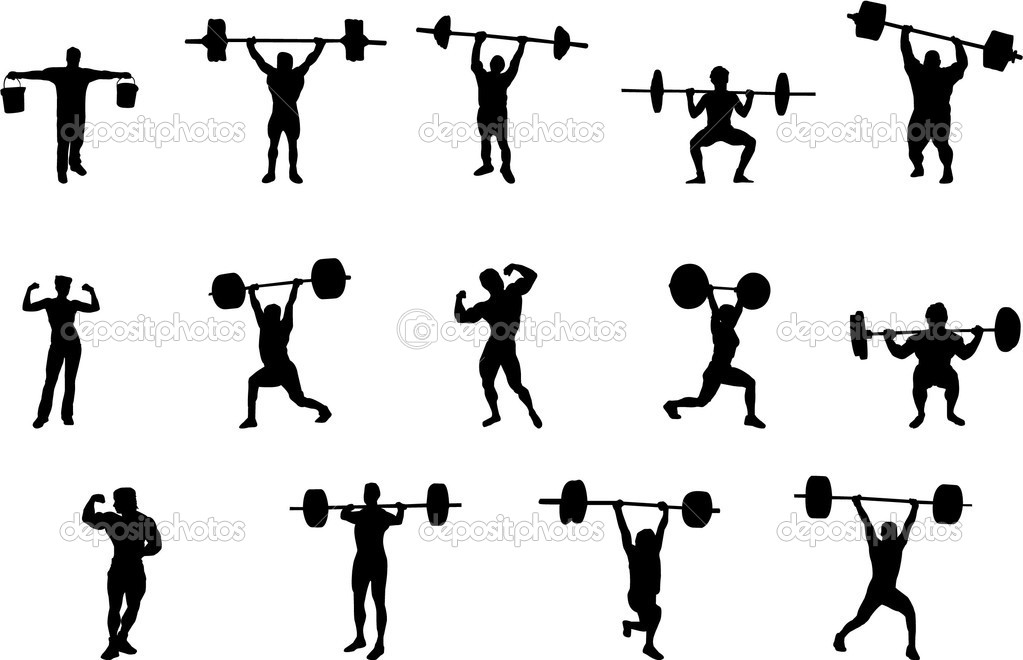 weight lifting silhouettes stock vector 1827377