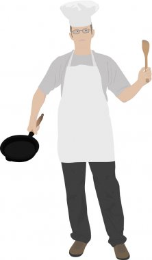 Illustration of young kitchen chef