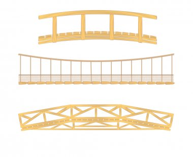 Wooden and hanging bridge illustration