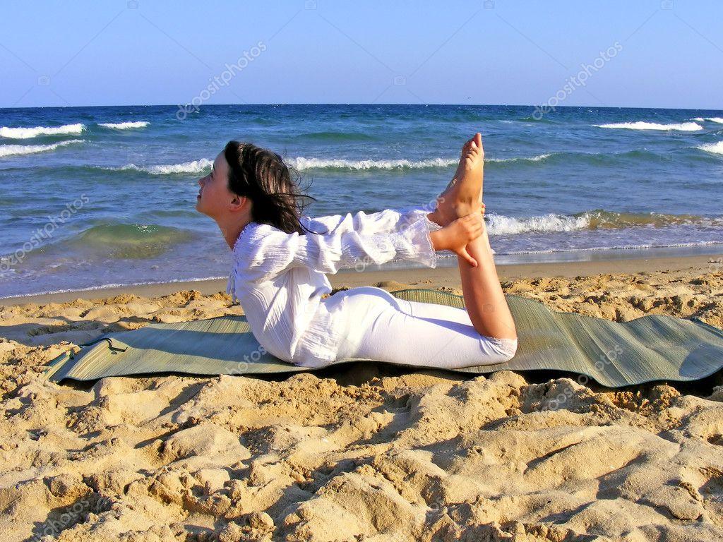 Young girl doing yoga - abstract
