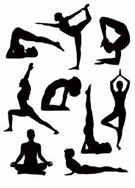 Yoga silhouettes - vector