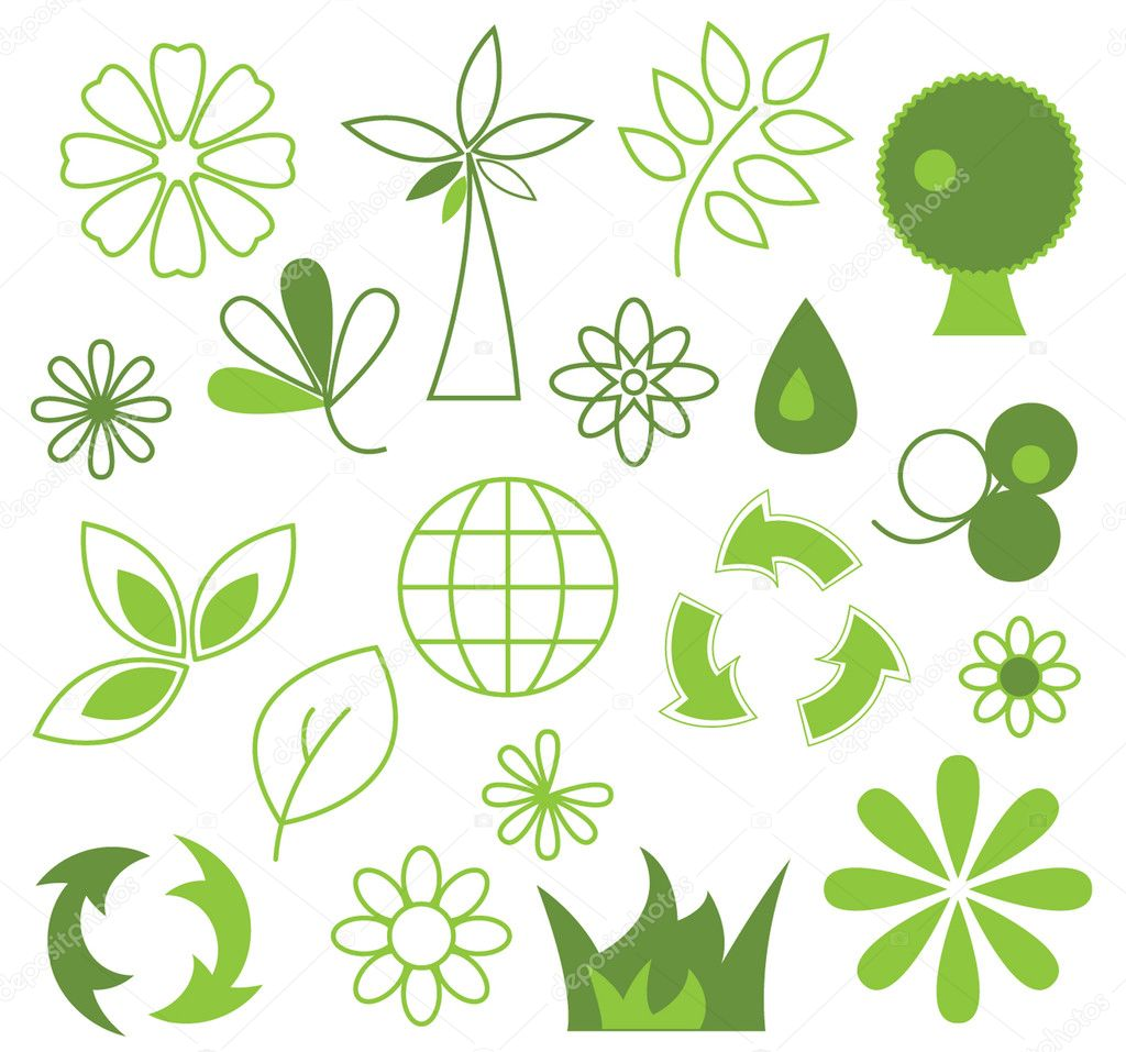 Set of green vector icons - eco concepti