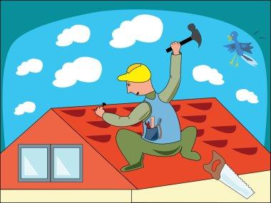 Cartoon illustration of a workman - vect