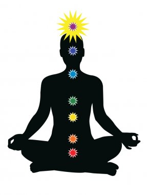 7 chakras in the body - vector