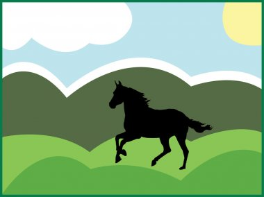 Black horse - vector