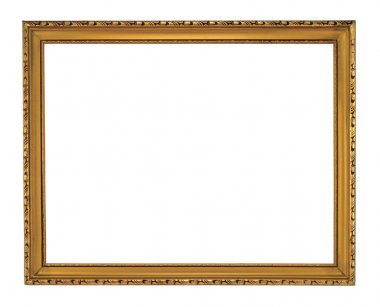 Antique wooden gold frame isolated on white. stock vector