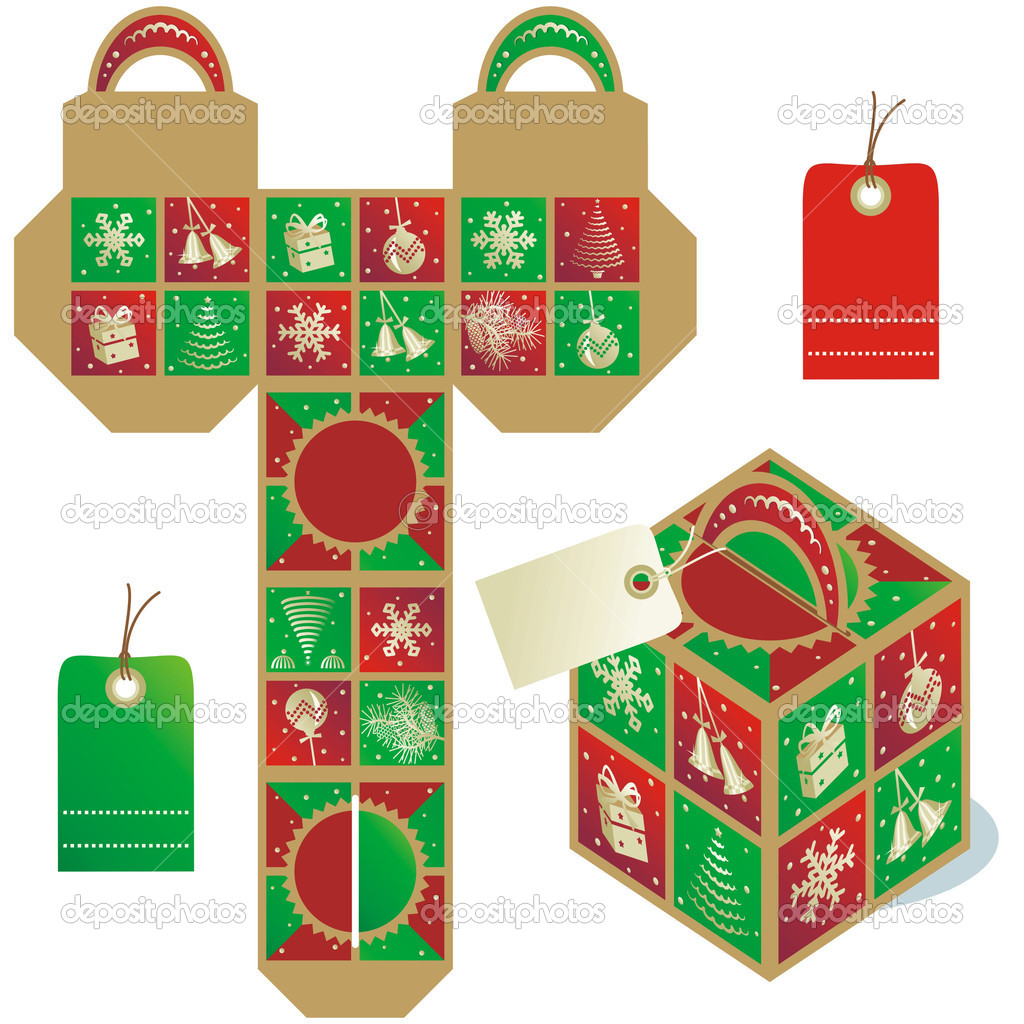 Holiday gift packaging template — Stock Vector © ratselmeister ...