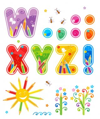 Spring or summer abc set letters W - Z
