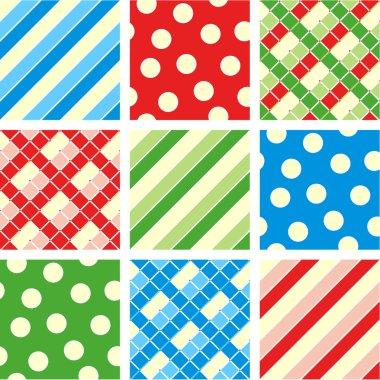 Seamless set - polka-dot, plaid, stripes