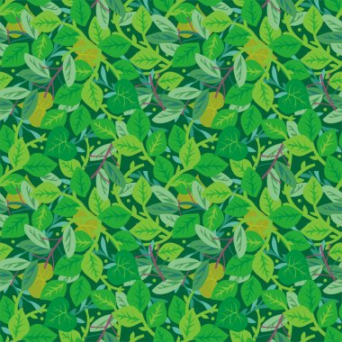 Green foliage seamless repeat pattern